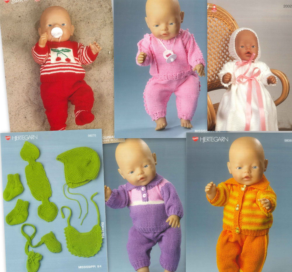 gratis strikkeopskrifter dukketøj baby born